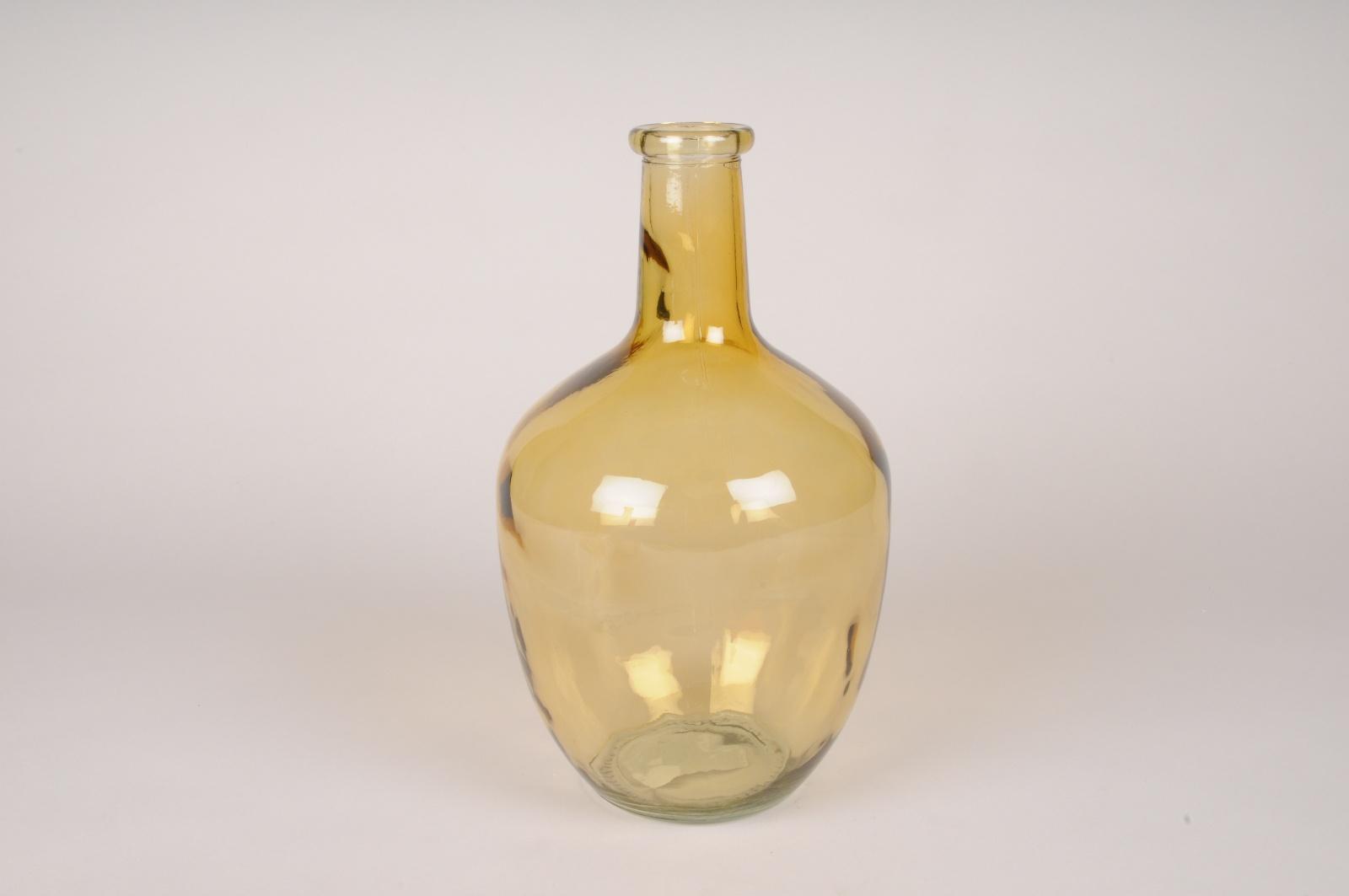 A076NH Vase bouteille en verre ocre D17cm H30cm