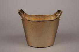 A077BV Gold brushed metal vase 29x18cm H20.5cm