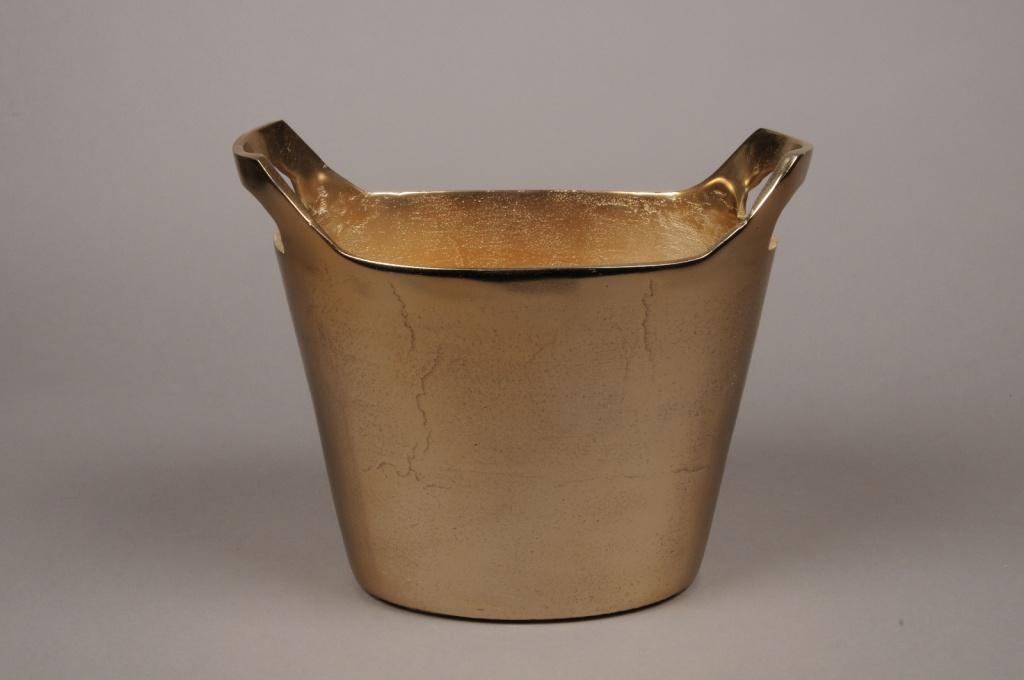 A077BV Vase en métal or 29x18cm H20.5cm