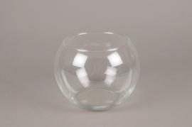 A077IH Vase en verre boule D19cm H14cm