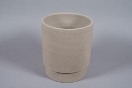 A077T3 Pot en béton taupe D32cm H37cm