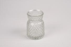 A078R4 Vase en verre motif diamant D7.5cm H10.5cm