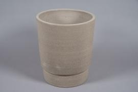 A078T3 Pot en béton taupe D38cm H44cm