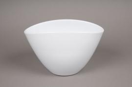 A079I0 Cache-pot en céramique blanc 17x27.5cm H15.5cm
