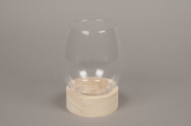 A079PM Glass vase with wooden plater D14cm H18cm