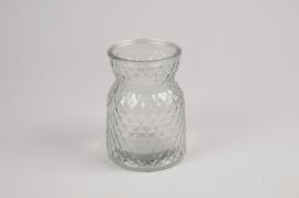 A079R4 Vase en verre motif diamant D10cm H13.5cm