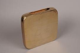 A080BV Gold metal square vase H24.5cm