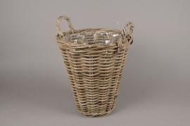 A080NM Rattan baskets planter D33cm H37cm
