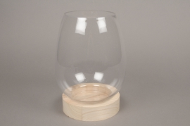 A080PM Glass vase with wooden plater D18cm H26cm