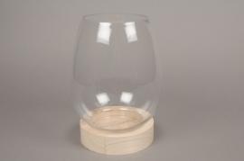 A080PM Vase verre avec plateau bois D18cm H26cm