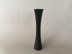 A080PS Vase soliflore sablier évasé en verre noir D3,3cm H25cm