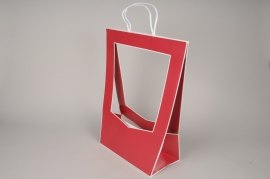 A080QX Pack of 5 red kraft bags 30cmx 48cm H52cm