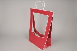 A080QX Paquet de 5 sacs en kraft rouge 30cmx 48cm H52cm