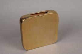 A081BV Gold metal square vase H28.5cm