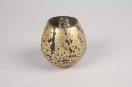 A082LE Photophore en verre boule or D6cm H10cm