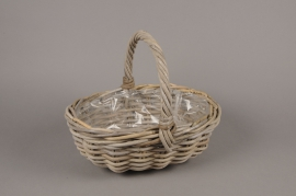A083NM Wicker baskets with handle 29x24cm H13cm