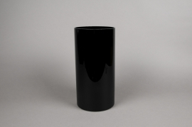 A083PS Cylindric glass vase black D15cm H30cm