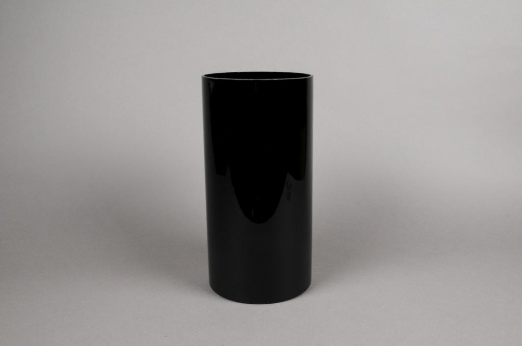 A083PS Vase cylindre en verre noir D15cm H30cm