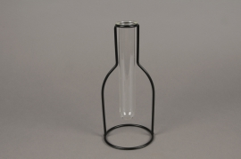 A084PM Glass bud vase with metal stand H23cm