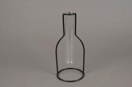 A084PM Soliflore en verre support métal H23cm