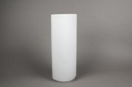 A084PS Vase cylindrique en verre blanc D15cm H40cm