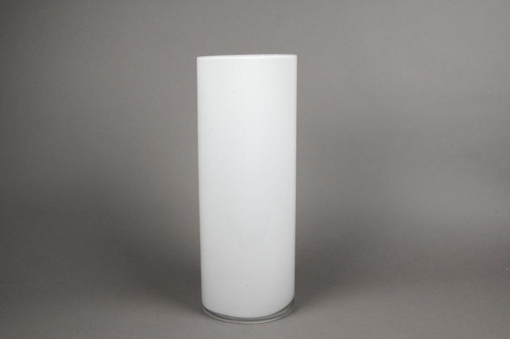 A084PS White glass cylinder vase D15cm H40cm