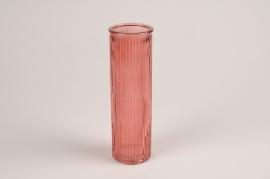 A084R4 Pink glass vase D6cm H20cm