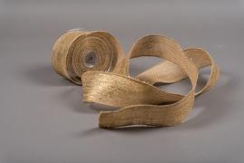 A084UN Natural jute ribbon 63mm x 10m