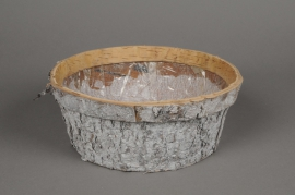A085DZ Planter wood bark whitened D24cm H10cm
