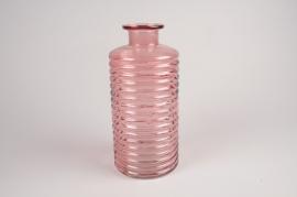 A085R4 Vase bouteille en verre rose D14cm H30cm