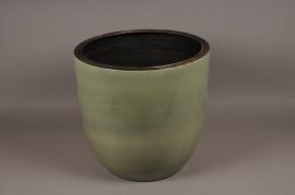 A086LE Cache-pot céramique vert D46cm H41cm