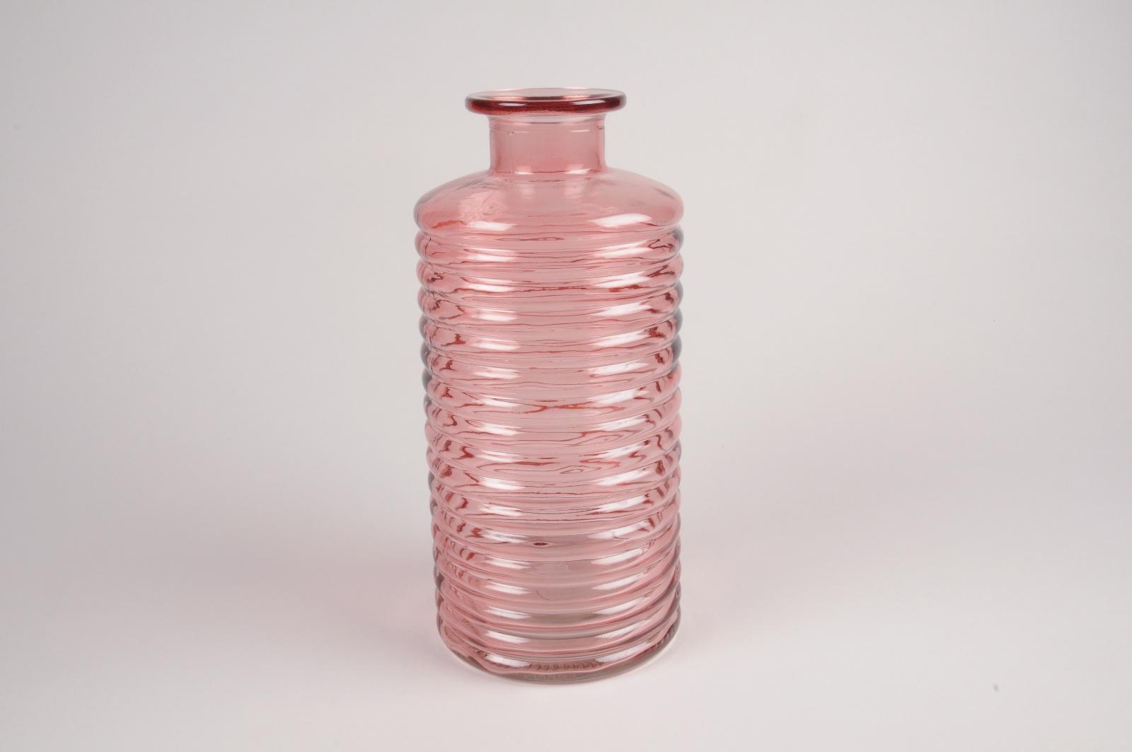 A086R4  Vase bouteille en verre rose D14cm H30cm