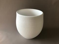 A086T3 Cache-pot en béton blanc D36cm H38cm