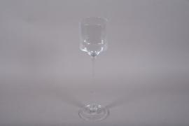 A086W3 Vase en verre sur pied D15cm H55cm