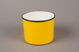 A087A9 Yellow zinc planter D15cm H11.5cm