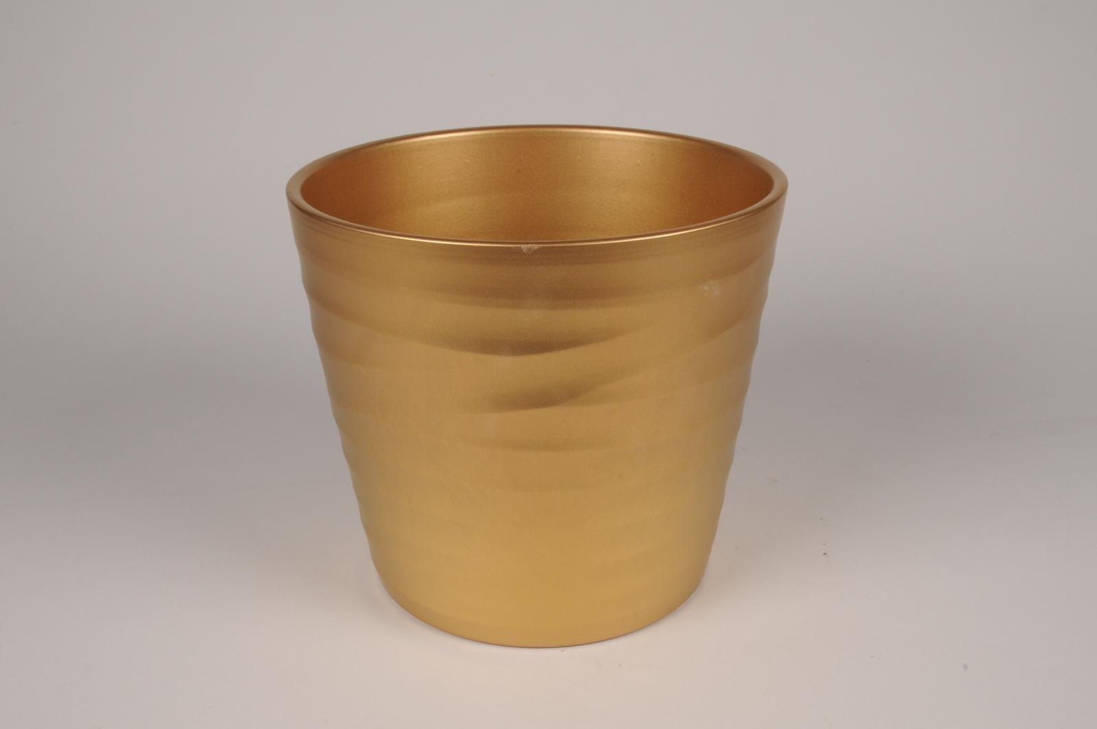 A087PP Cache-pot en céramique or D24cm H21.5cm