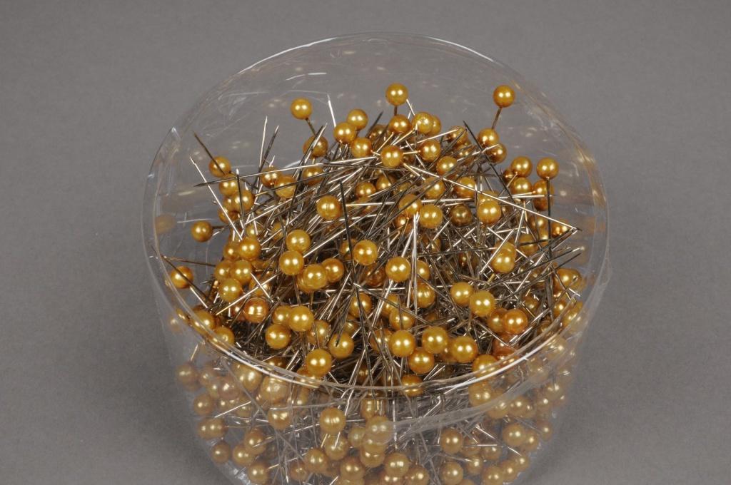 A089MG Boîte de 500 perles sur épingle or 6x65mm