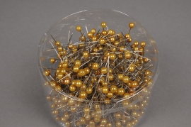 A089MG Box of 500 gold beads on pin 6x65mm