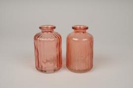 A089R4 Vase bouteille en verre assortis D6cm H10cm