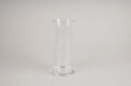 A089W3 Vase en verre sablier D10cm H25cm