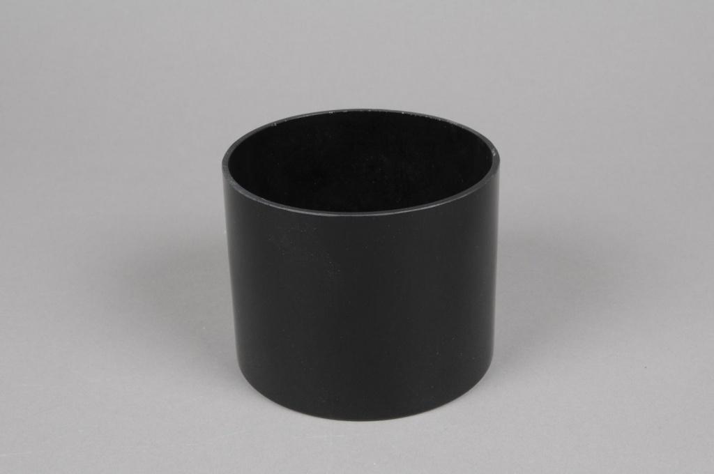 A090PS Cylindric glass vase black diameter 12cm height 9.5cm