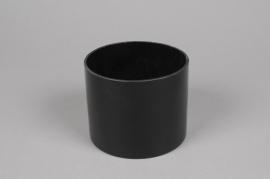 A090PS Vase verre cylindre noir D12 H9.5cm