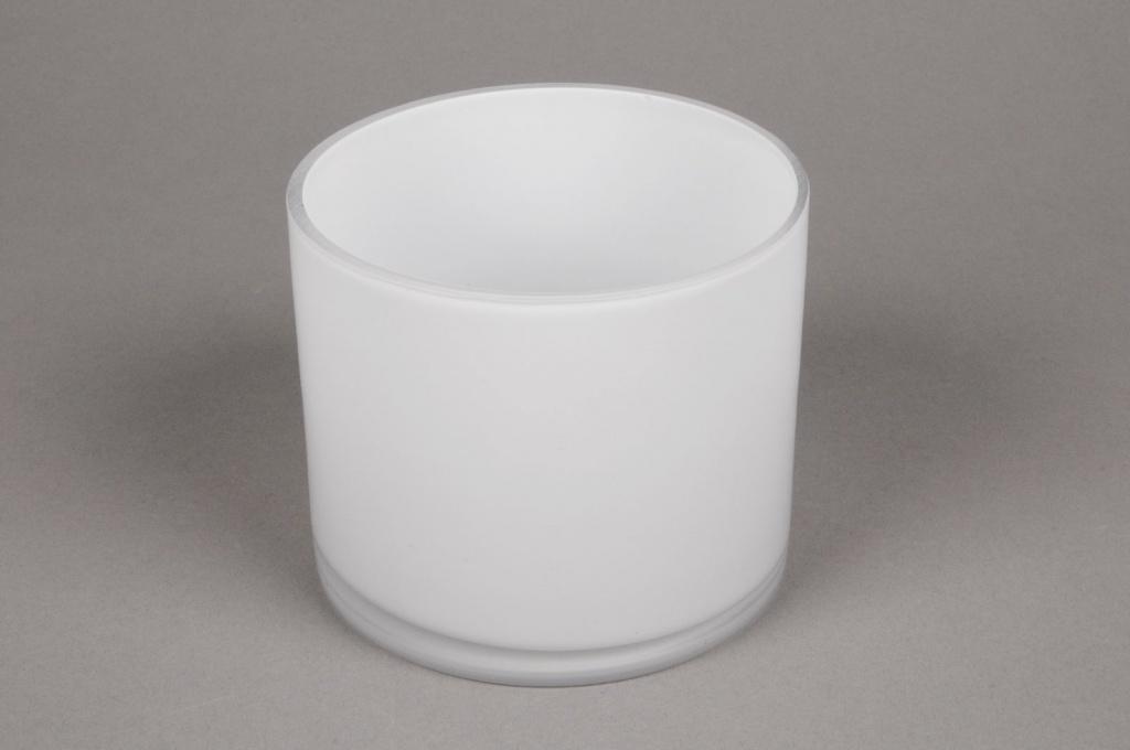 A091PS Vase verre cylindre blanc D12 H10cm