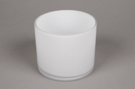 A091PS Vase verre cylindre blanc D12 H10cm