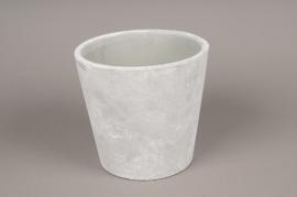 A092TN Cache-pot en céramique gris D17cm H16cm