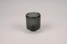 A092W3 Vase verre fumé noir D6.5cm H8.5cm
