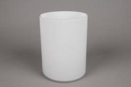A093PS Cylindric glass vase white diameter 15cm height 20cm