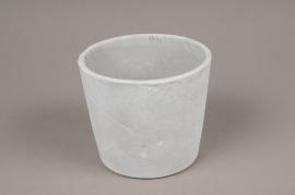 A093TN Cache-pot en céramique gris D14cm H12.5cm