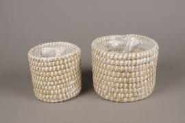 A094T3 Set 2 white weaved planter D17cm H14cm
