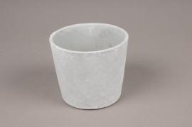 A094TN Cache-pot en céramique gris D14cm H12.5cm